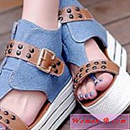 Denim cipele Wedge | Moda